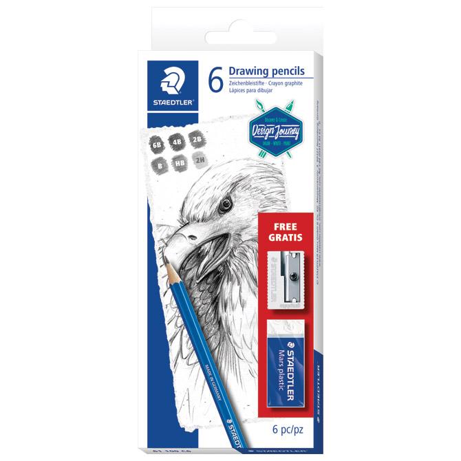 Set Mars Lumograph olovke+gumica+šiljilo Design Journey Staedtler 61 100 C6 blister