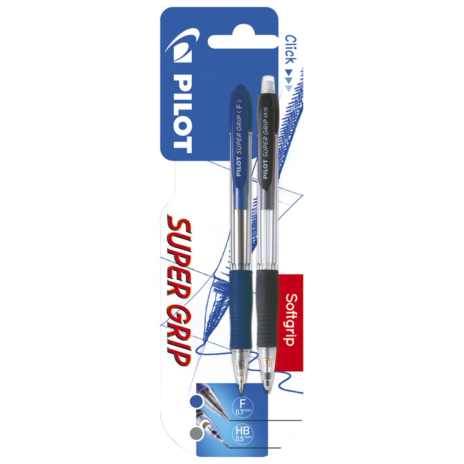 Set olovka kemijska+olovka tehnička Super grip Pilot blister!!