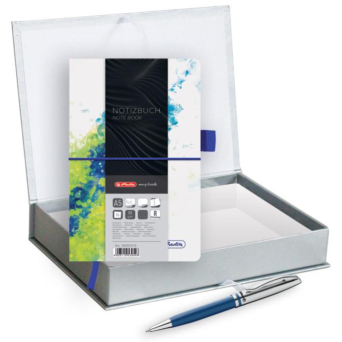 Set poklon notes Herlitz  A5 crte s gumicom plavo/zelena + olovka kemijska Pelikan velvet plava