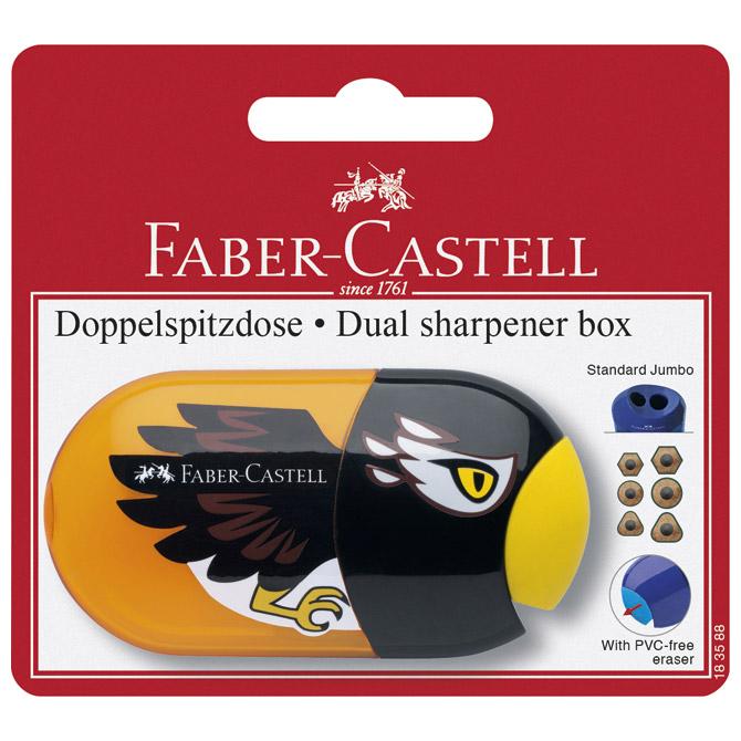 Šiljilo-gumica pvc s pvc kutijom 2rupe Animal/Trend Faber Castell 183588 sortirano blister