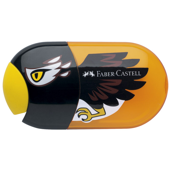 Šiljilo-gumica pvc s pvc kutijom 2rupe Orao Faber Castell 183527 crno/narančasto