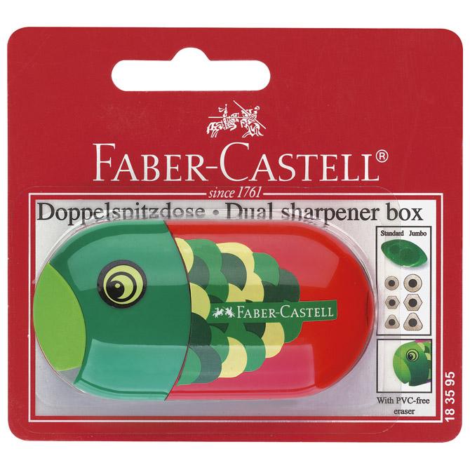 Šiljilo-gumica pvc s pvc kutijom 2rupe Riba/Papiga Faber Castell 183595 crveno/zeleno blister!!