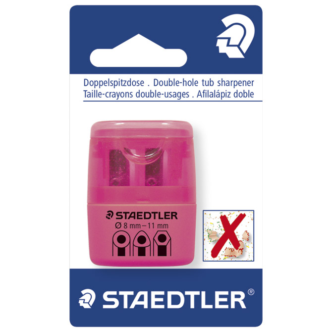 Šiljilo pvc s pvc kutijom 2rupe Staedtler 51260F20BK neon rozo blister!!