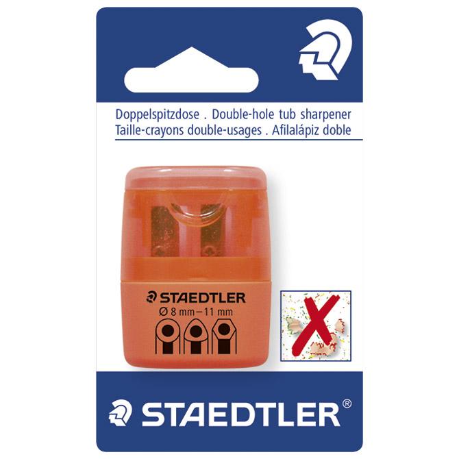 Šiljilo pvc s pvc kutijom 2rupe Staedtler 51260F4-BK neon narančasto blister!!