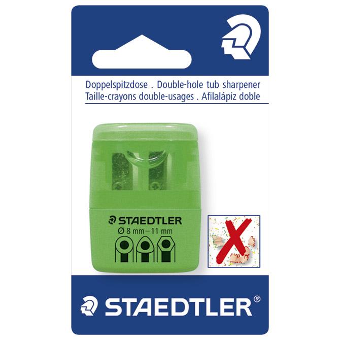 Šiljilo pvc s pvc kutijom 2rupe Staedtler 51260F50BK neon zeleno blister!!