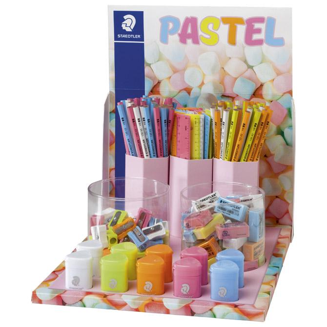 Stalak s olovkama grafitnim+gumice+šiljila+ravnala Pastel Line Staedtler 13043SCA!!