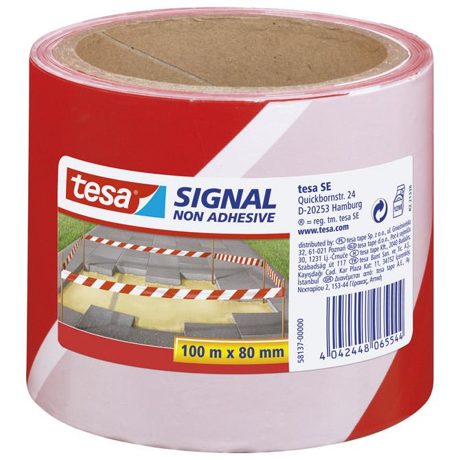 Traka za označavanje 80mm/100m polietilen Tesa 58137 bijelo-crvena