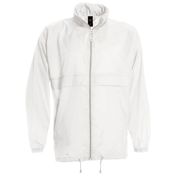 Vjetrovka s kapuljačom zip unisex B&C Sirocco bijela M