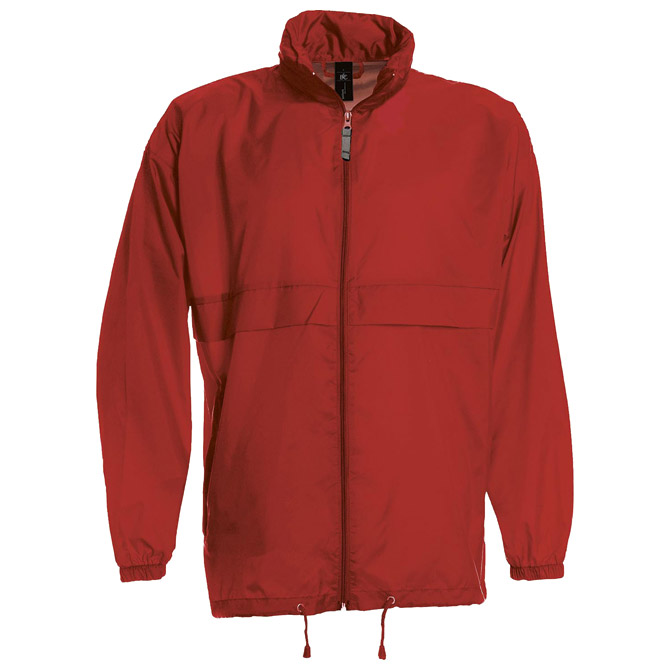 Vjetrovka s kapuljačom zip unisex B&C Sirocco crvena 3XL