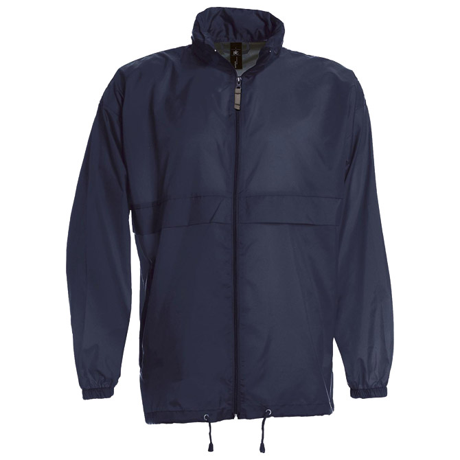 Vjetrovka s kapuljačom zip unisex B&C Sirocco tamno plava XL