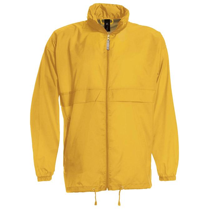 Vjetrovka s kapuljačom zip unisex B&C Sirocco zlatna žuta S