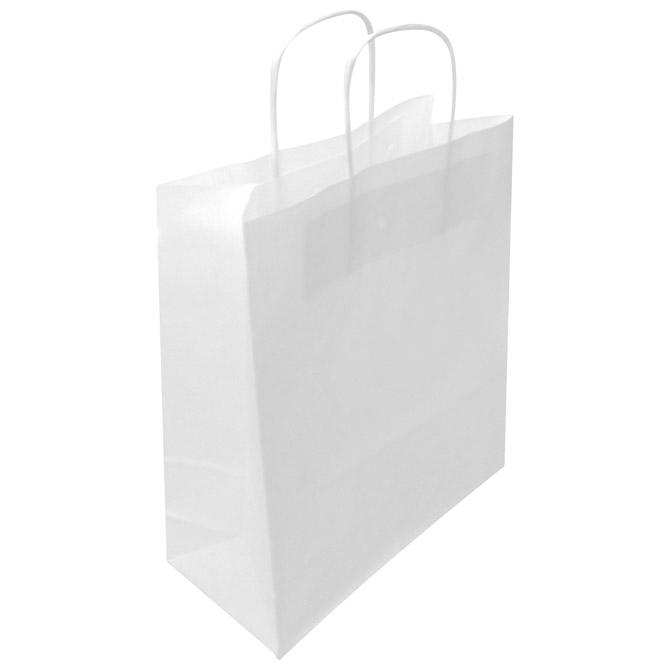Vrećice ukrasne natron 45x48x17cm pletena ručka pk50 Duga bijele