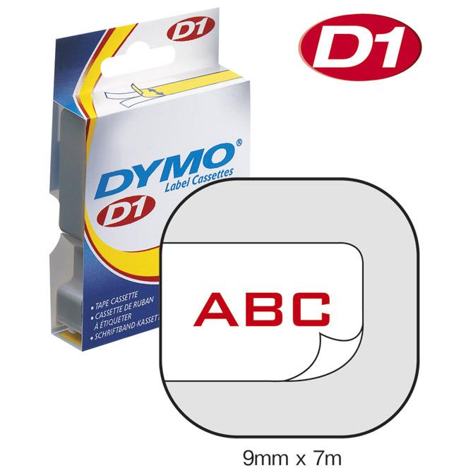 Vrpca D1  9mmx7m Dymo 40915 crveno-bijela!!