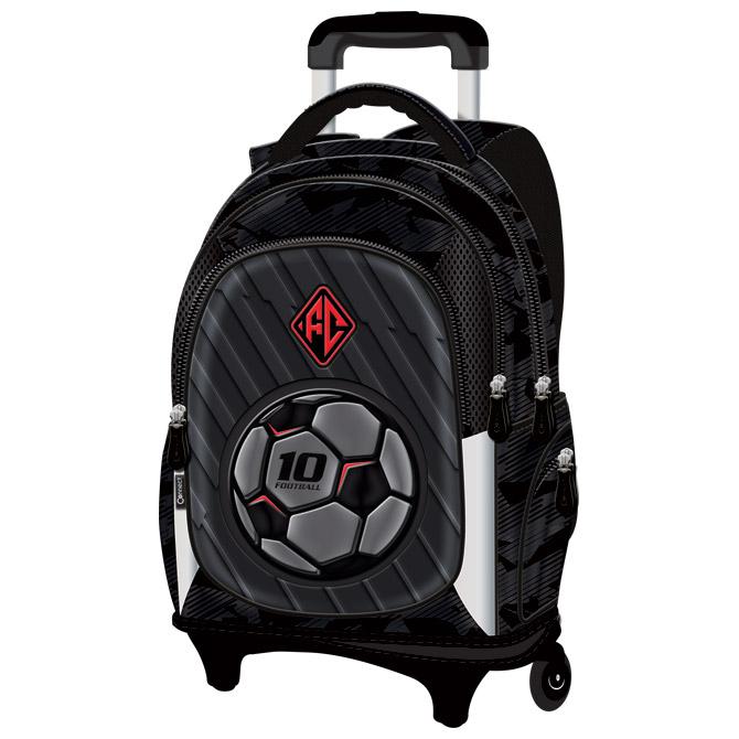 Ruksak školski s kotačićima Football Team Connect crno-sivo-crveni!!