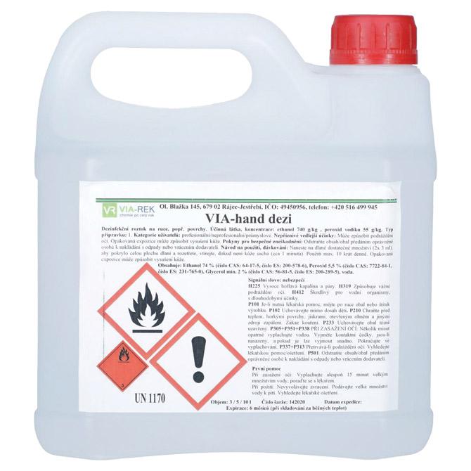 Sredstvo - VIA-hand dezi - za dezinfekciju ruku i površina 5L