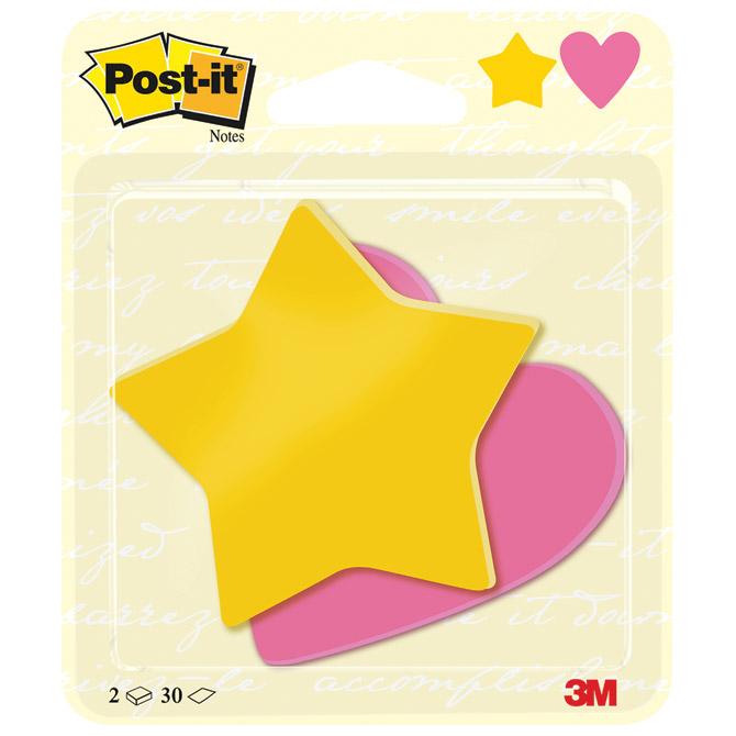 Blok samoljepljiv oblik Star and Heart 70x72mm 60L Post-it 3M. Blister