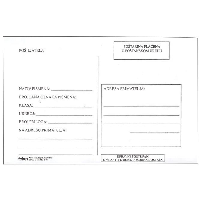 Kuverte B6-BB strip s povratnicom B-32 pk100 Fokus