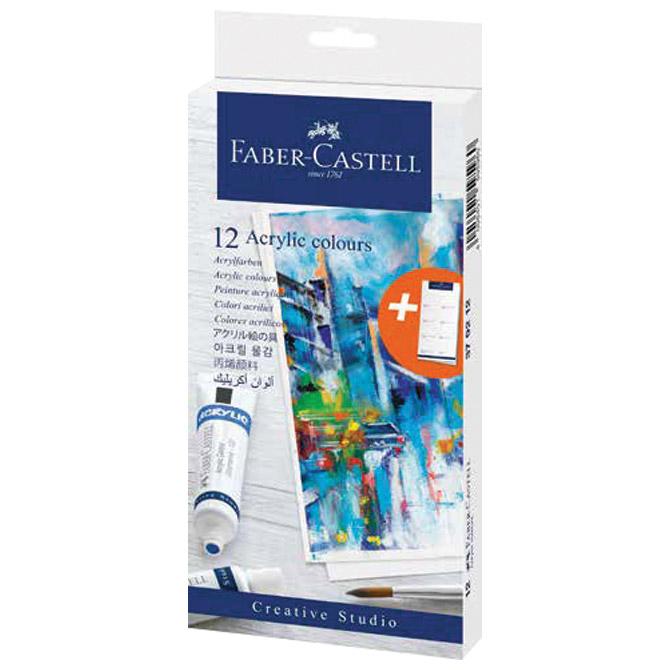 Boja akrilna  20ml u tubi 12boja Faber Castell 379212 blister