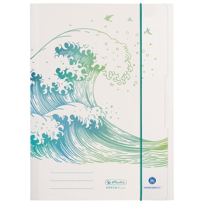 Fascikl klapa s gumicom karton A4 Greenline Wave Herlitz 50033928