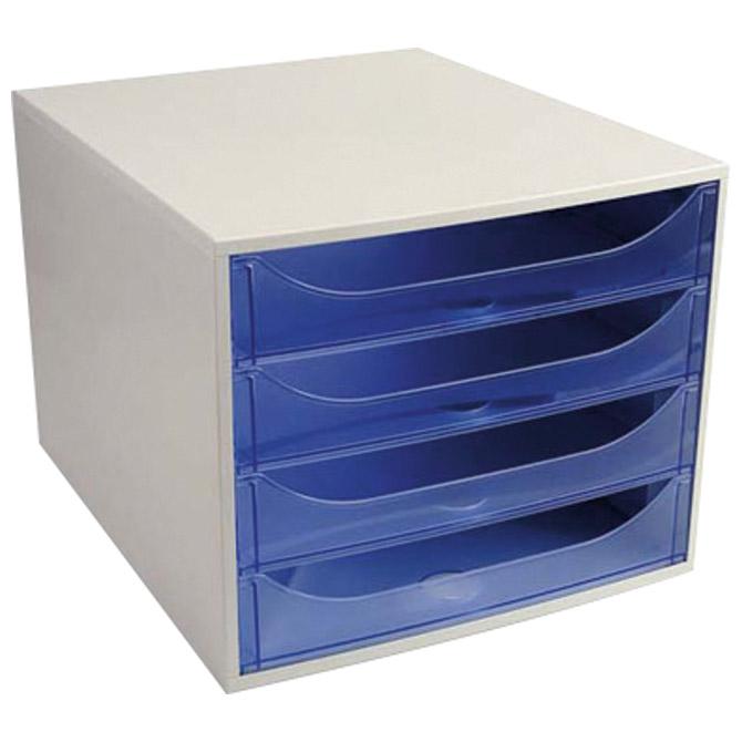 Kutija s  4 ladice Ecobox Exacompta 228610D sivo/prozirno plava