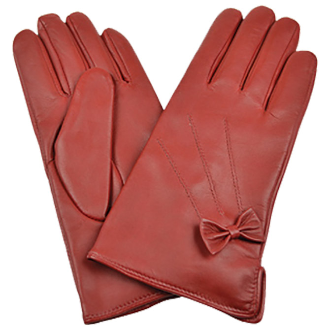 Rukavice kožne ženske sa mašnom Galko 71-0074-R03 crvena L
