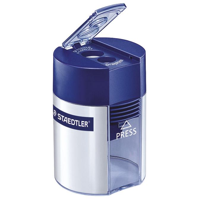 Šiljilo metalno s pvc kutijom 2rupe Staedtler 512001 plavo/srebrno