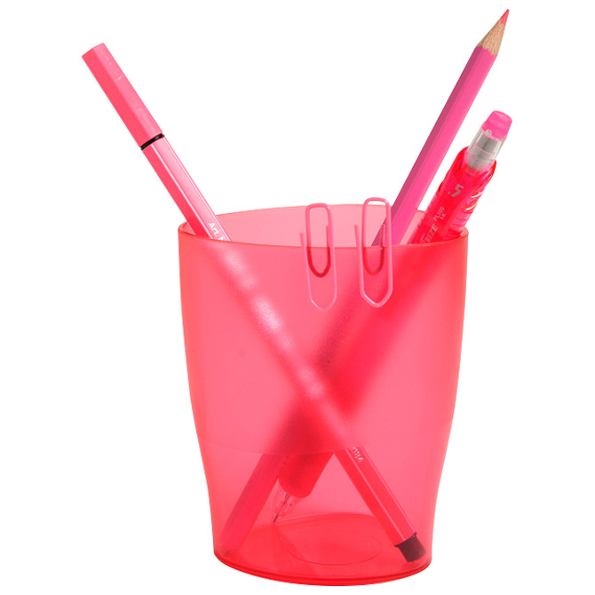 Čaša za olovke pp Exacompta 67654D prozirno roza