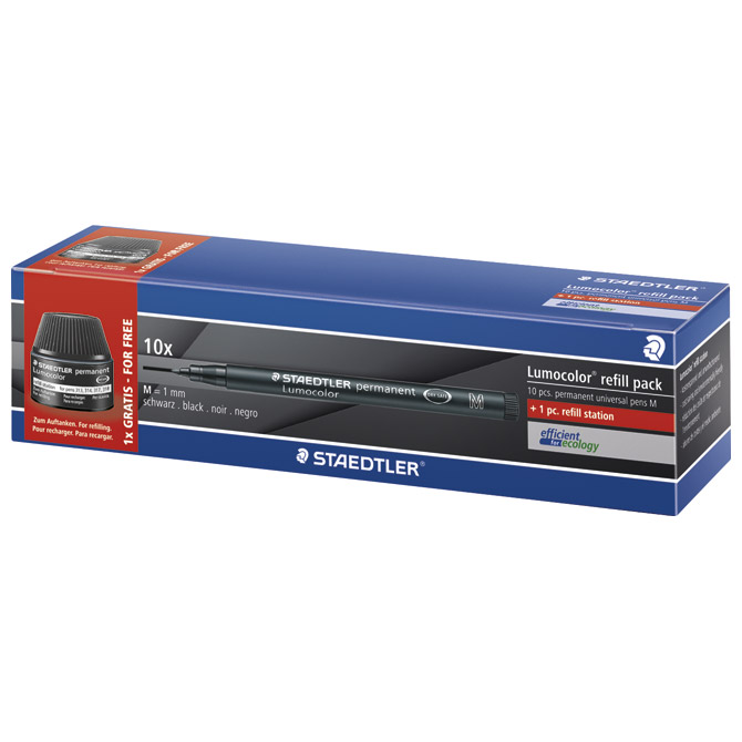 Marker permanentni 1mm pk10+tinta Lumocolor Staedtler 317-9 C10P!!