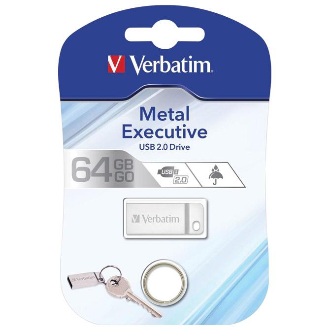 Memorija USB 64GB 2.0 Metal Executive Verbatim 98750 srebrna blister