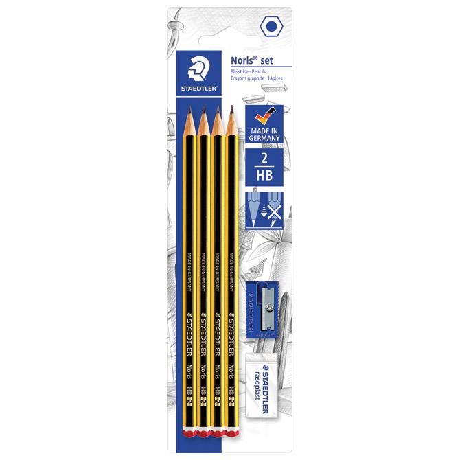Olovka grafitna HB Noris pk4+gumica+šiljilo Staedtler 120S1 BK4D blister