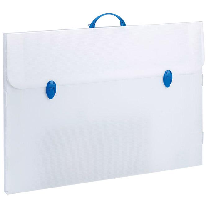 Torba-kofer pp-tvrdi  735x520x30mm Balmar PF14284/E04CT prozirno bijela/plava ručka
