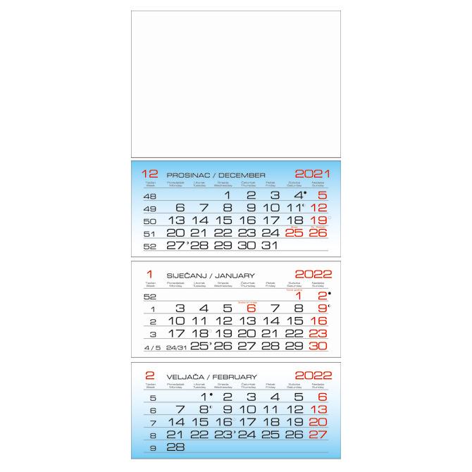 Kalendar zidni trodijelni 2022.-3 bloka