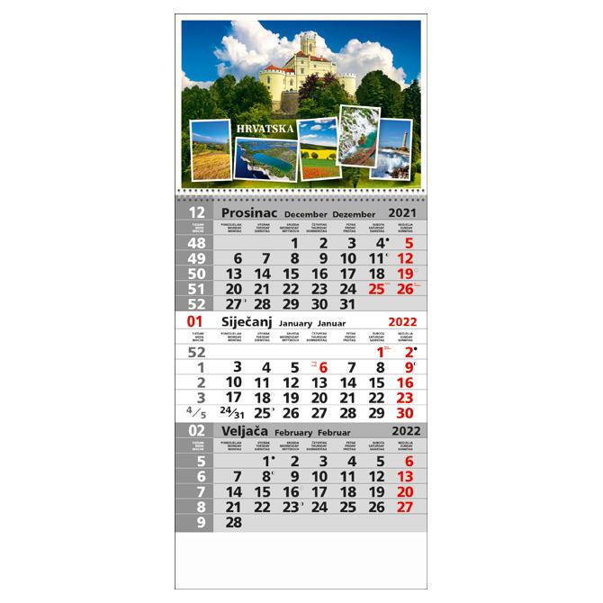 Kalendar zidni trodijelni 2022. sa slikom I spiralom