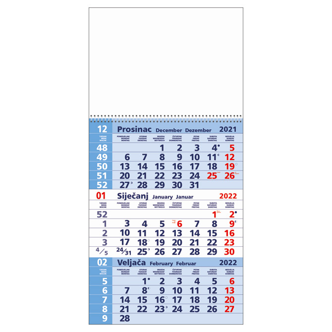 Kalendar zidni trodijelni 2022. sa spiralom plavi
