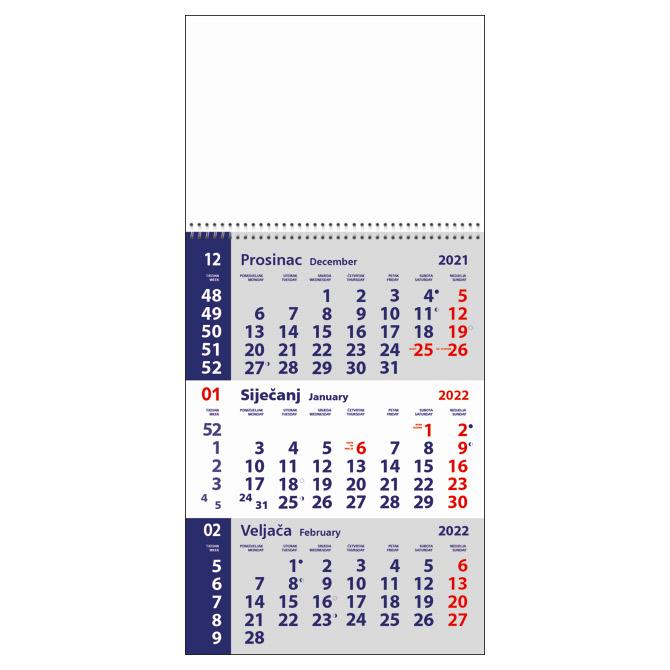 Kalendar zidni trodijelni mali 2022.-3 mjesec/listu