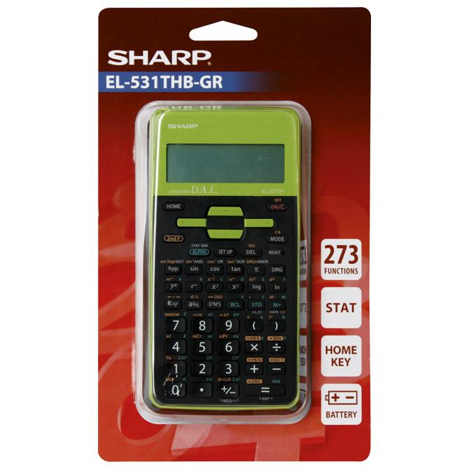 Kalkulator tehnički 10+2mjesta 273 funkcije Sharp EL-531TXHBGR zeleni blister!!